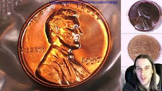 Coin Video of Roll of 50 1957 Proof Lincoln Wheat Cents in Mint Cello Roll 000049