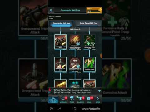 Mobile Strike - Commander 120 skill tree set up