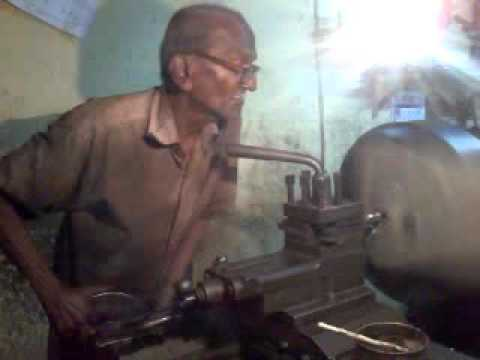 80 years old working on lathe machine