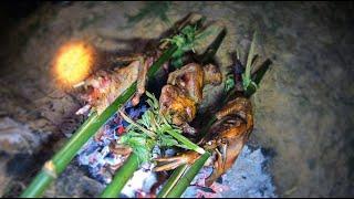 เป็ดไทยย่างกลางทุ่ง หุงข้าวแบบโบราณ สุดยอดบรรยากาศทุ่งนา