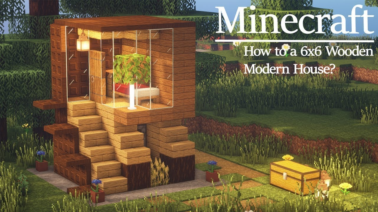 6x6 MODERN HOUSE How to Build Simple Starter House in Minecraft Tutorial