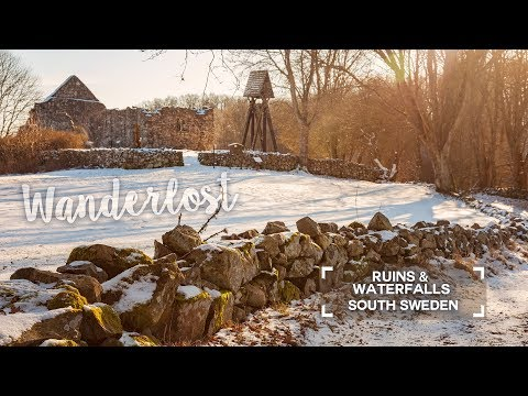 Ruins and waterfalls in south Sweden