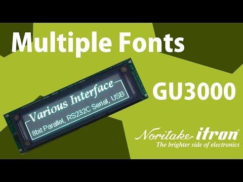 Noritake VFD: GU-Series 256x64 Dot Matrix Display - Kanji/Chinese/Korean Fonts Demo