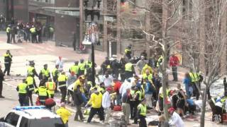 Blast at the finish line of the Boston Marathon