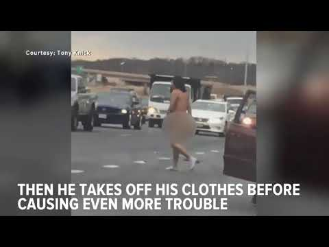 Caught On Camera: Man Strips Naked In Bizarre Road Rage Incident