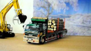一気!におろします ISUZU+komatsu PC1250-8 Timber truck unloading thumbnail