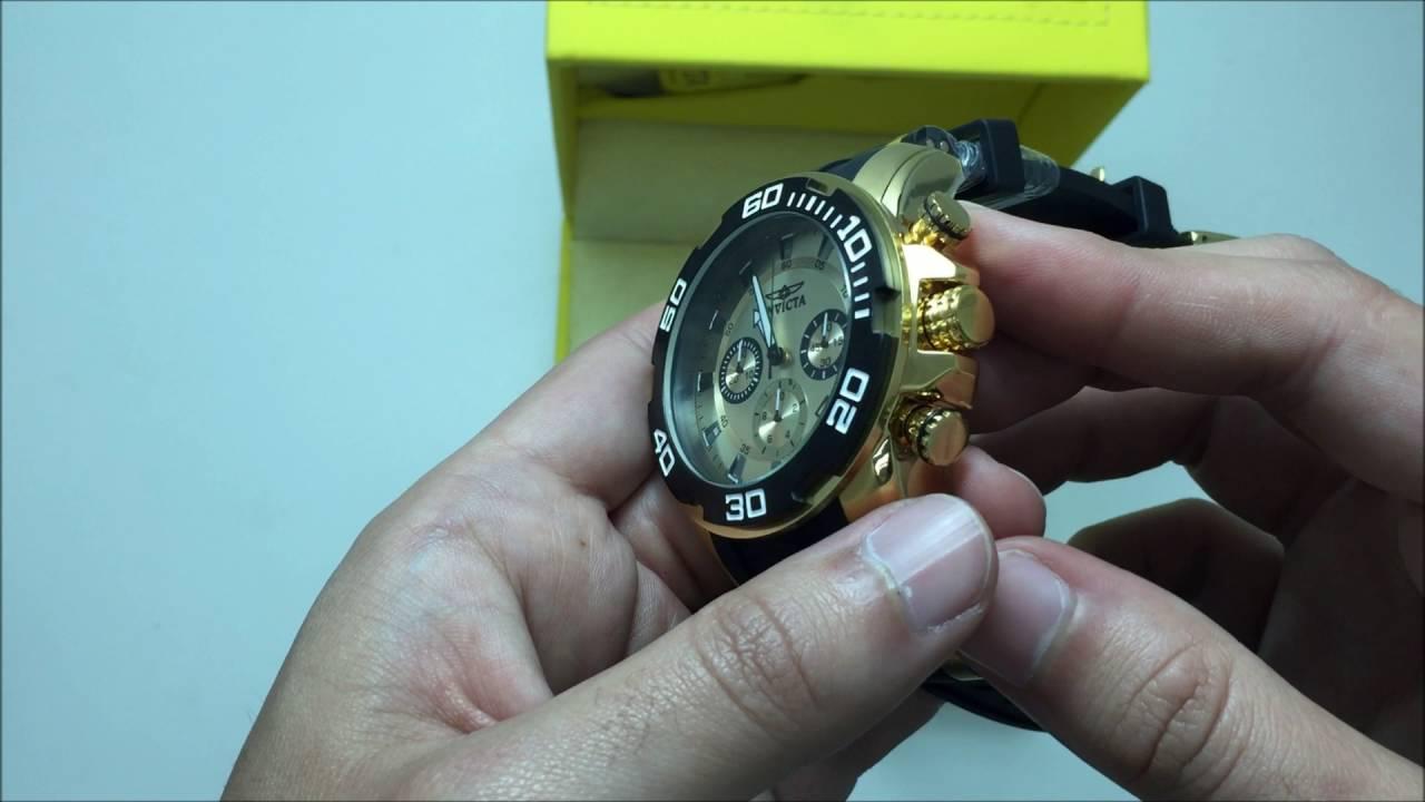 38769f31b13 Relógio Invicta Masculino Dourado Pro Diver Lançamento 22346 - YouTube