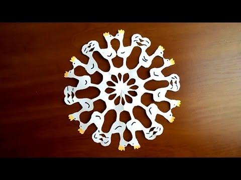 снежинка петух из бумаги снежинка символ года 2017