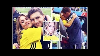 Victor Lindelöf and wife Maja Nilsson struggle to keep hands off each other at Sweden game