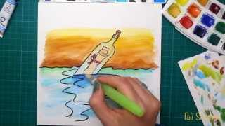 Hope: a message in a bottle - watercolor speed painting