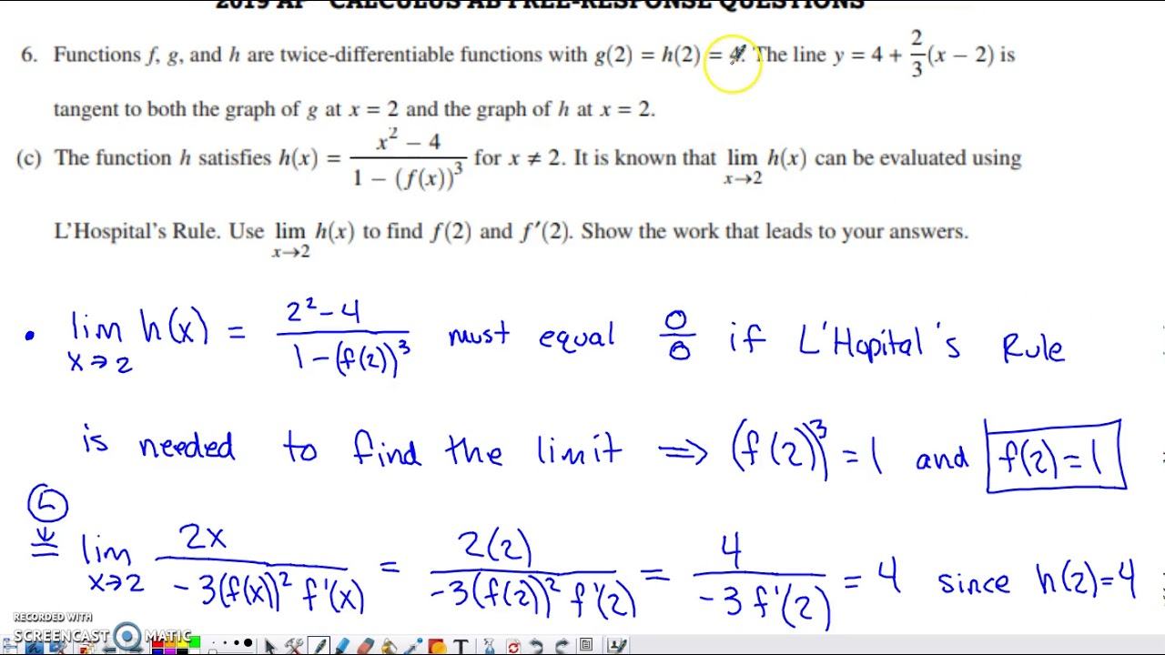 ap calculus ab free response questions with solutions