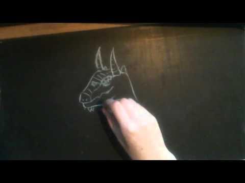ASMR - no talking - drawing on chalkboard -2