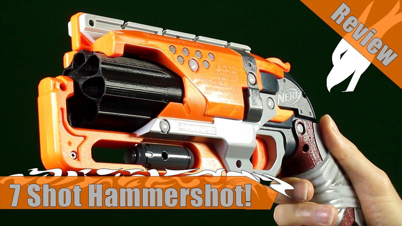 Hammershot 7 Round Cylinder 3D Print Mod for Nerf Zombie Strike Blaster Revolver
