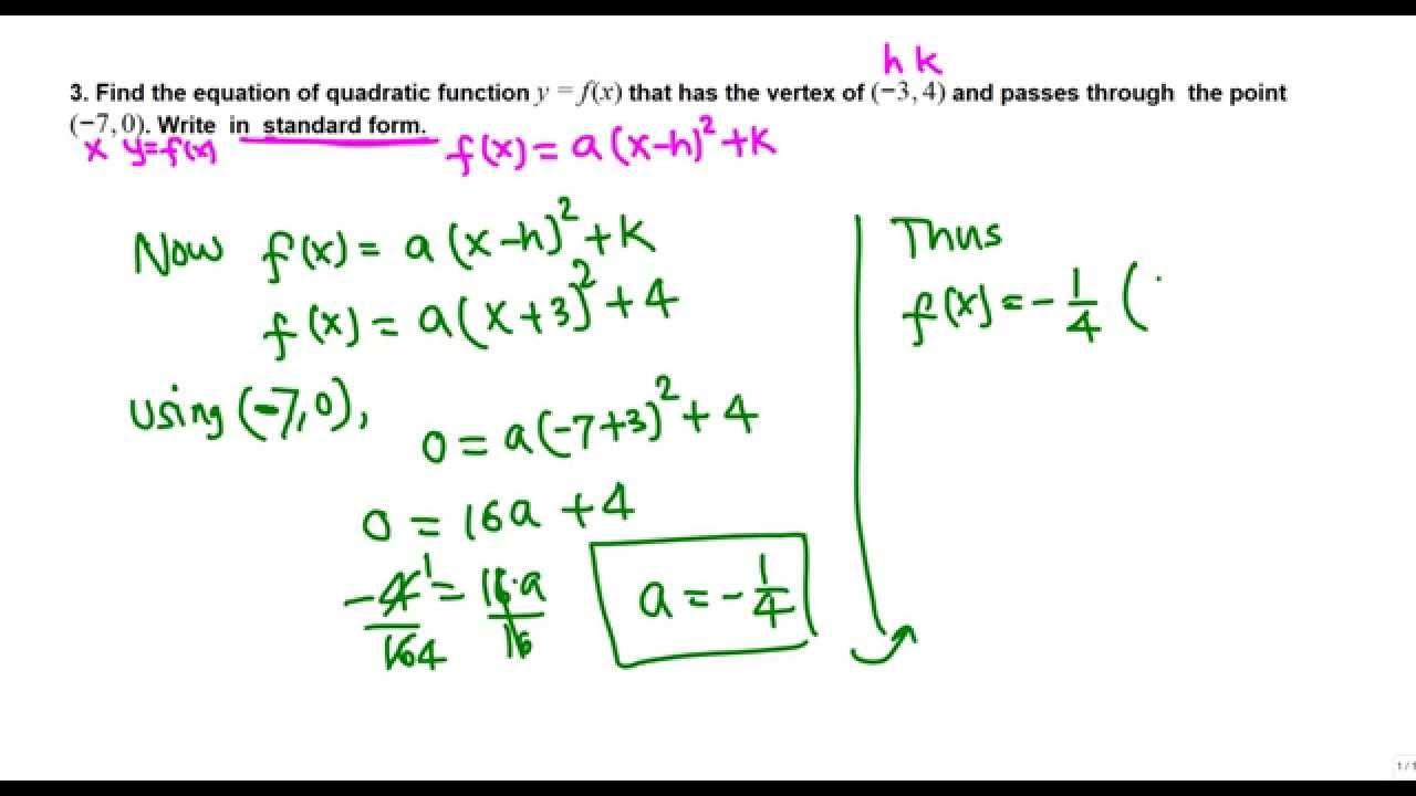 Writing a quadratic function in standard form (college algebra)