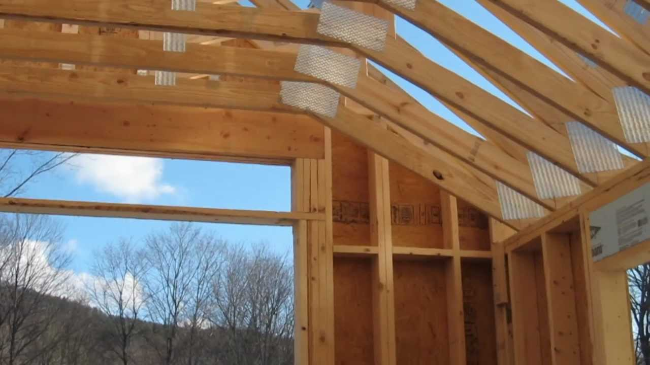 Custom wood scissor truss for garage youtube for Pre engineered trusses