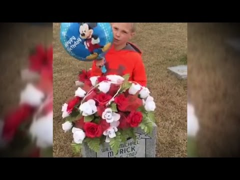 Thumbnail: See Boy Bring Mickey Mouse Balloon To Twin's Grave On Their 10th Birthday