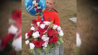 See Boy Bring Mickey Mouse Balloon To Twin's Grave On Their 10th Birthday
