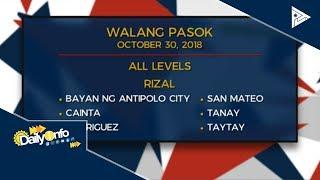 Mga lugar sa Luzon na #WalangPasok dahil sa bagyong #RositaPH