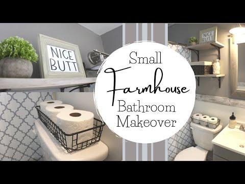 DIY SMALL BATHROOM REMODEL   Farmhouse Bathroom Decor