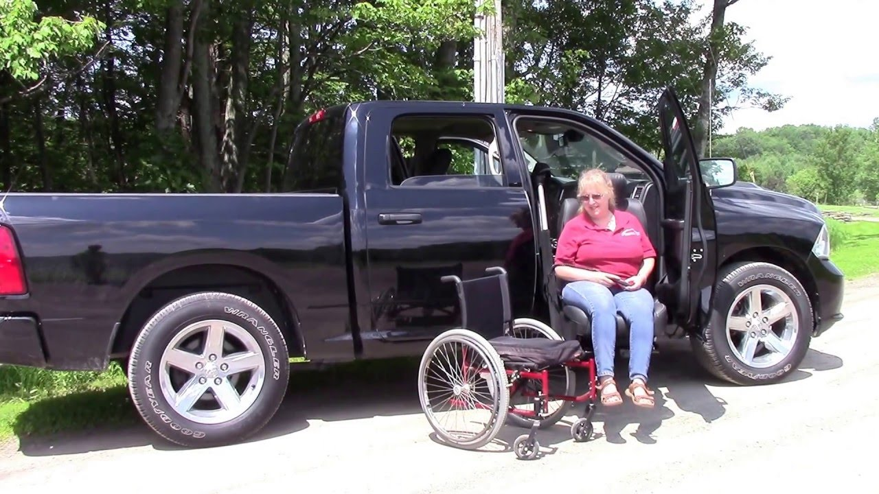 wheelchair lift for truck chair design guidelines easy reach handicap disability seat in dodge ram pickup