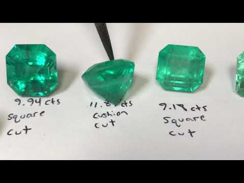 Examples of high quality and low quality emerald gemstones