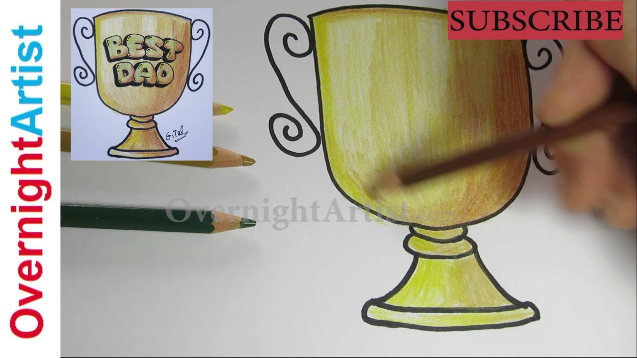 fathers day gift idea easy trophy drawing for dad youtube