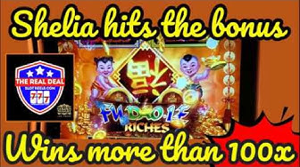 SHELIA GETS A 100X BONUS on FU DOA LE RICHES @ GOLDEN NUGGET CASINO LAS VEGAS- FREE SPINS WIN 100X