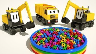 #excavator and Dump Truck Ball Pit Show - Learn Colors With Soccer Balls for Kids