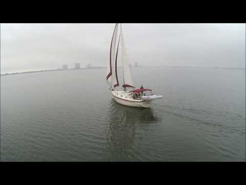 Flying Syma X8HG off my Sailboat.  Pearson 36 Cutter/ 367