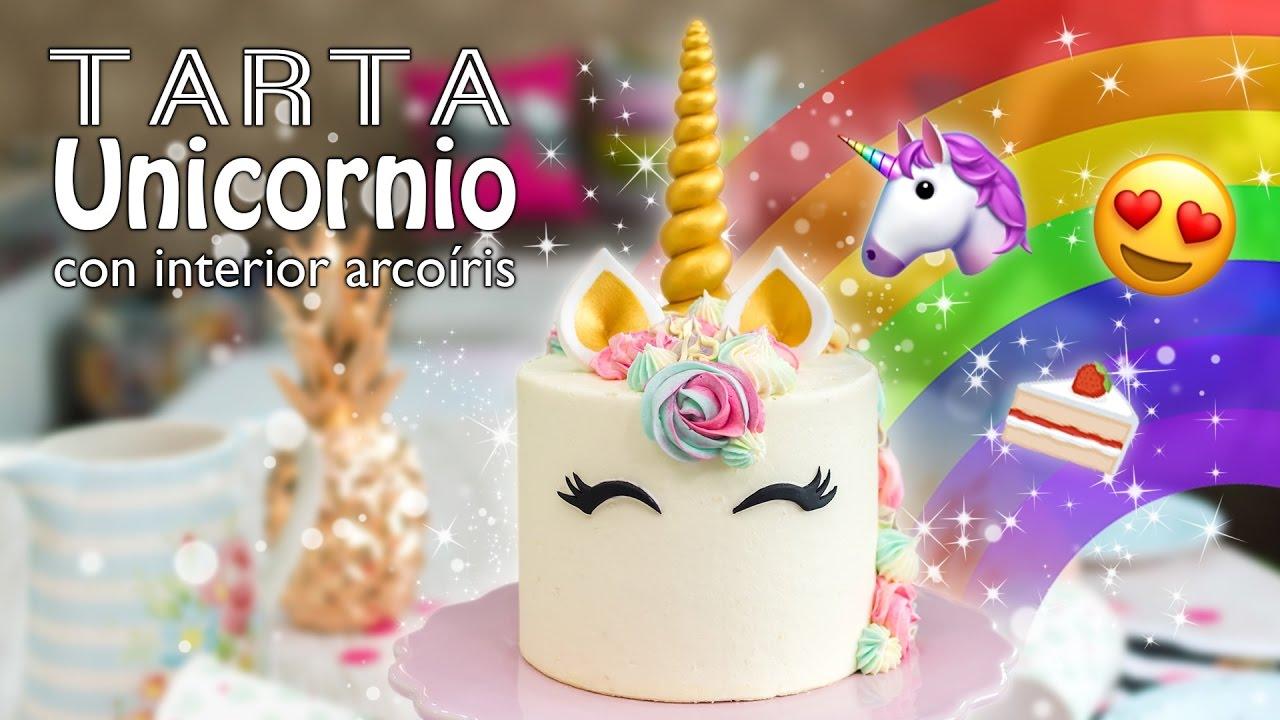 Tarta Unicornio Con Interior De Arcoíris Unicorn Cake Quiero