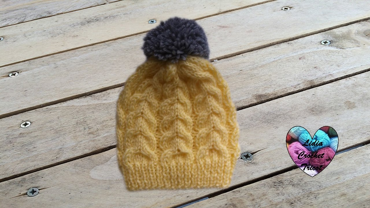 Bonnet tricot bébé a torsade facile 1 2   Gorro bebe dos agujas facil f0b52afad2a