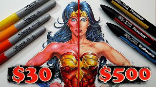 $30 vs $500 MARKER Art   Sharpies vs Professional Markers - Which are WORTH IT..?