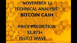 Bitcoin Cash BCH November 11 Technical Analysis and Price Forecast, Elliot Wave, $1,873 next target