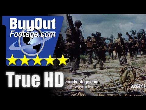 HD Historic Stock Footage WWII U.S. ARMY Invades Makin Island Color