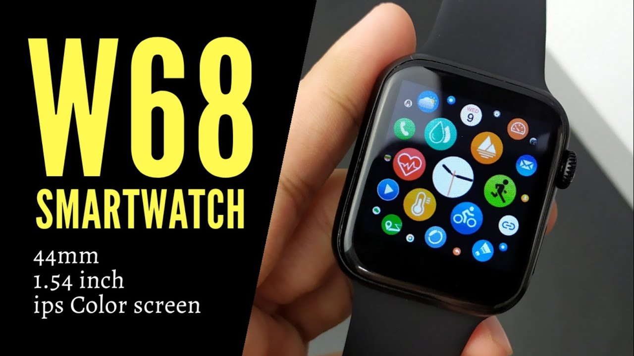 W68 Smartwatch 44mm 1 54 Inch Ips Color Screen Unboxing And Review With Subtitle Youtube