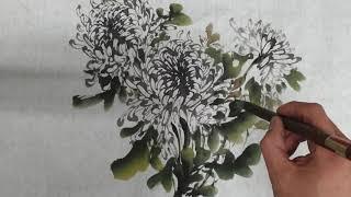 국화꽃그리기 사군자(입시미술학원 수묵정물화/채색화 국화…
