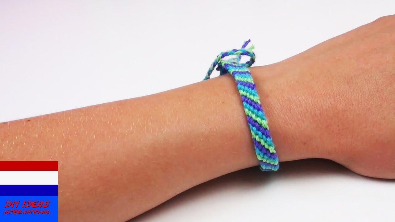 Verwonderlijk DIY: armband / vriendschapsbandje knopen van katoen - YouTube PH-29