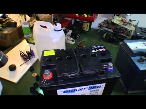 Preparing batteries, to make 48 volt battery bank - 077