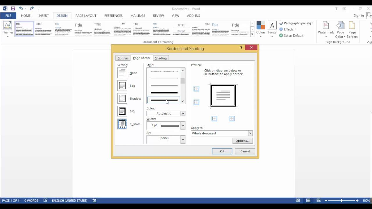 how to make a border in word 2016