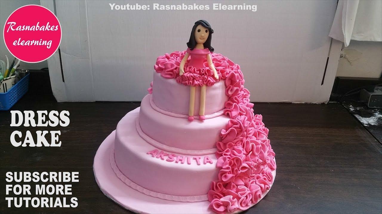 fondant ruffle birthday girl doll dress cake design ideas decorating  tutorial video