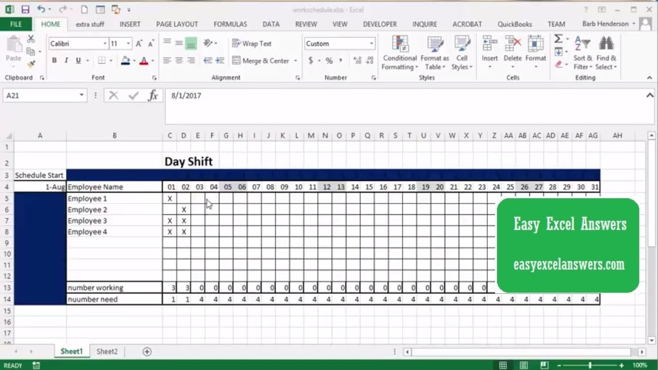 How to create a work schedule in Excel