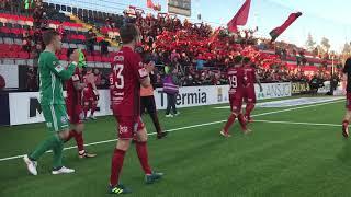Här firar fansen ÖFK efter segern mot Blåvitt