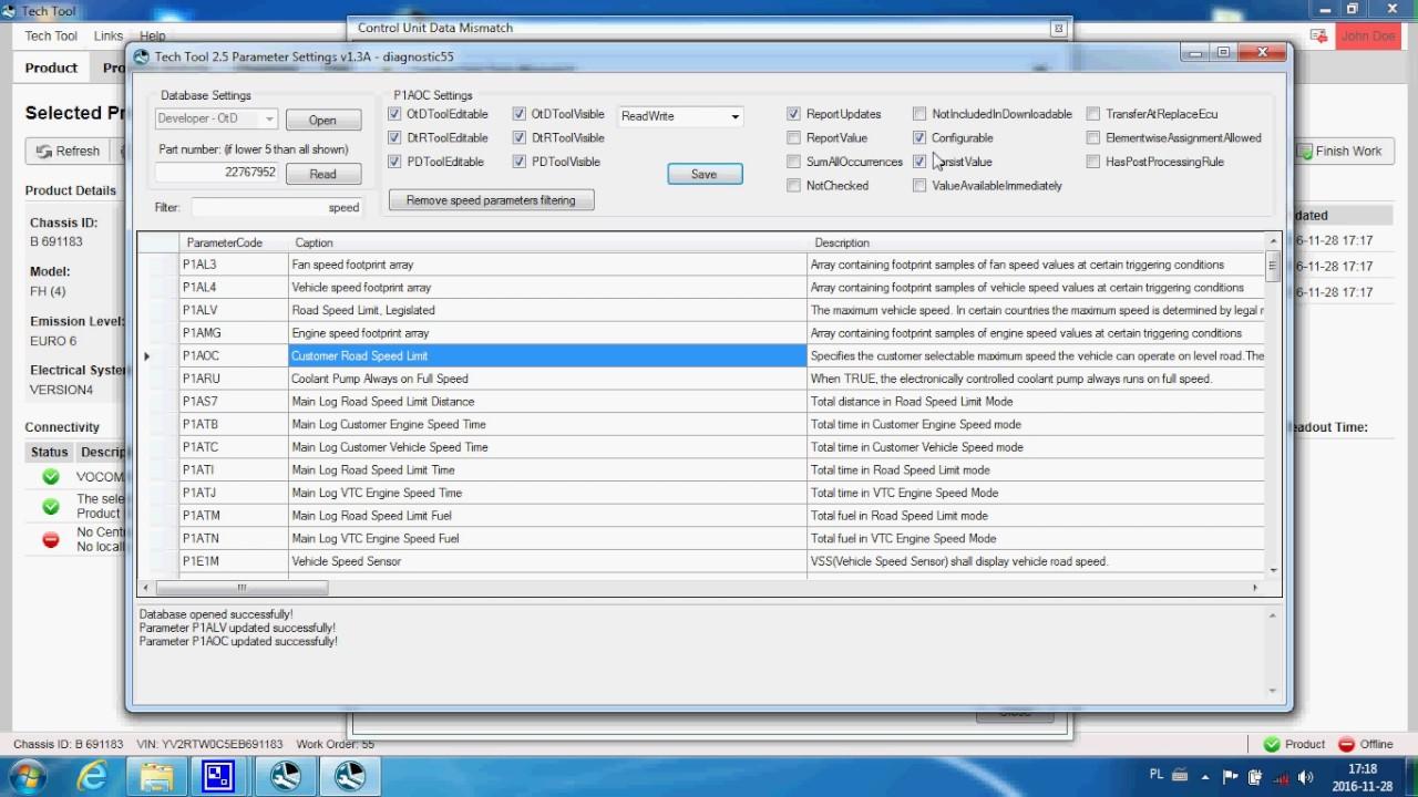 Tech Tool 2 5 parameters programming part1