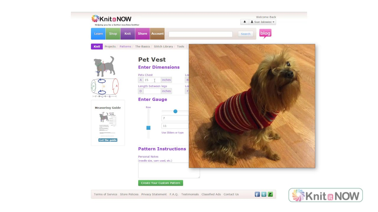 Machine Knit Dog Sweater Pattern - YouTube