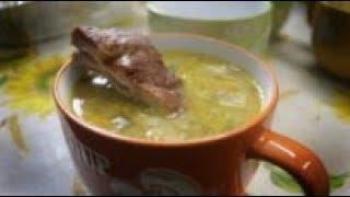 Гороховый суп с копченостями в казане (монтаж 2)