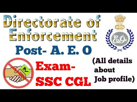 JOB PROFILE -Assistant Enforcement officer(AEO) by SSC cgl(all about job)in hindi