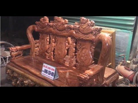 Bộ BÀN GHẾ MINH QUỐC NGHÊ CỘT VIP – ĐẸP 16 – 10 món gỗ Hương A Thắng-Sài Gòn ĐỒ GỖ LINH LONG