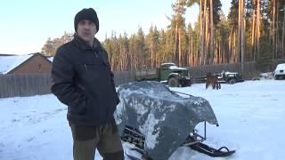 Самодельный снегоход 02 ,первый пуск на морозе .