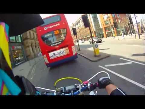Supermoto little tour of Manchester City Centre .wmv