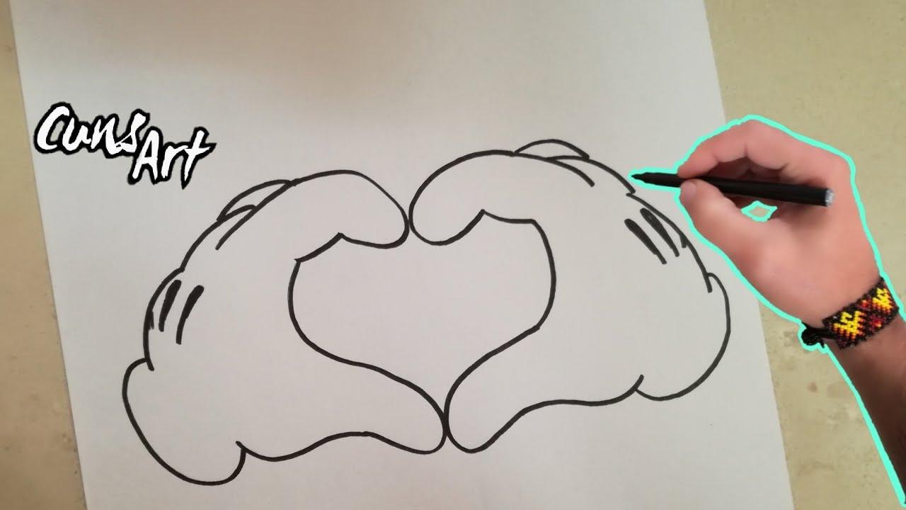 Como Dibujar Un Corazon Mickey Mouse How To Draw A Heart Mickey
